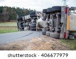 truck accident. truck lies on... | Shutterstock . vector #406677979