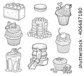 black and white collection of... | Shutterstock .eps vector #406687180