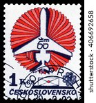 Small photo of STAVROPOL, RUSSIA - APRIL 06, 2016: a stamp printed by Czechoslovakia shows Concept plane, payment airmail, circa 1983