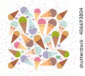 card design square with kawaii... | Shutterstock .eps vector #406693804