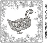 Duck In Floral Frame. Coloring...