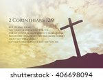 Small photo of 2 Corinthians Vintage Bible Verse Background on one cross on a hill