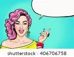 Pop Art Girl With Speech Bubbl...