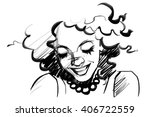 beautiful smiling woman face... | Shutterstock .eps vector #406722559