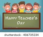 little schoolchildren at the... | Shutterstock .eps vector #406735234