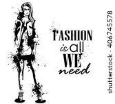 trendy look girl with splashes  | Shutterstock .eps vector #406745578