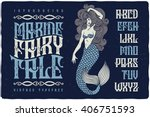 Stock vector marine fairytale font with beautiful mermaid illustration vintage decorative type set 406751593