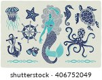 marine illustrations set.... | Shutterstock .eps vector #406752049