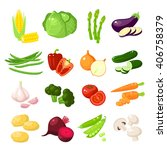 set of cartoon food  vegetables ... | Shutterstock .eps vector #406758379
