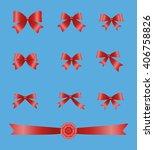 ribbon bow vector icon set.flat ... | Shutterstock .eps vector #406758826
