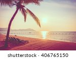 beautiful tropical beach sea... | Shutterstock . vector #406765150