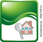 house and key on green wave... | Shutterstock .eps vector #40676911