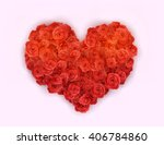 Stock vector vector red roses in shape of heart 406784860