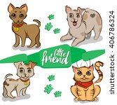 set of pets. little puppies and ... | Shutterstock .eps vector #406786324