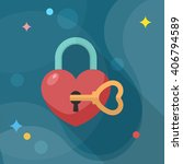valentine's day lover lock icon ... | Shutterstock .eps vector #406794589