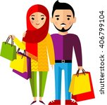 shopping concept with arab... | Shutterstock .eps vector #406799104