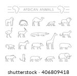 modern set outline african... | Shutterstock . vector #406809418