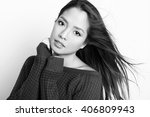 portrait of beautiful young... | Shutterstock . vector #406809943