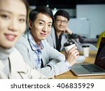 a team of young asian... | Shutterstock . vector #406835929