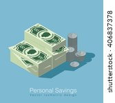 isometric money and coins... | Shutterstock .eps vector #406837378