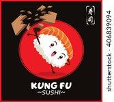 vintage kung fu sushi poster... | Shutterstock .eps vector #406839094