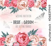vector wedding invitation | Shutterstock .eps vector #406839949