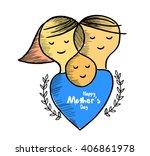 line art of mother silhouette... | Shutterstock .eps vector #406861978