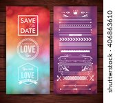 save the date and love icons in ... | Shutterstock .eps vector #406863610