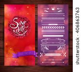red and purple save the date... | Shutterstock .eps vector #406863763