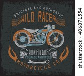 wild racer vintage print with...   Shutterstock .eps vector #406871554