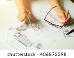 close up man working of... | Shutterstock . vector #406872298