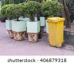 bins yellow in public park | Shutterstock . vector #406879318