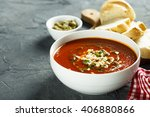 tomato soup with cheese and...   Shutterstock . vector #406880866