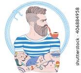 vector portrait of fashion... | Shutterstock .eps vector #406884958