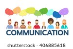 casual people group chat bubble ...   Shutterstock .eps vector #406885618