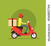 delivery boy ride scooter... | Shutterstock .eps vector #406885744