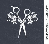 beauty salon logo. scissors... | Shutterstock . vector #406887394
