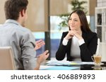 businesswoman attending... | Shutterstock . vector #406889893