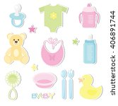 set of cute baby toy stickers... | Shutterstock .eps vector #406891744