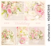 collage of wedding bouquet  | Shutterstock . vector #406892848