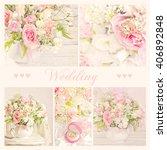 collage of wedding bouquet  | Shutterstock . vector #406892848
