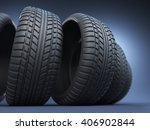 Rubber Tire Or Tyre 3d  On Blue