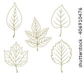 collection of line green leaves.... | Shutterstock .eps vector #406910476