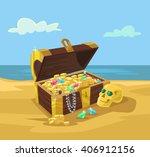 treasure chest full of gold... | Shutterstock .eps vector #406912156