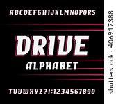 drive alphabet font. oblique...   Shutterstock .eps vector #406917388