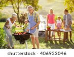 grandmother help grandfather... | Shutterstock . vector #406923046