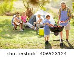 happy family on camping making... | Shutterstock . vector #406923124