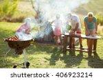 Grilled Meat Skewers Smoke...