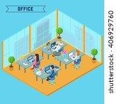 modern isometric office... | Shutterstock .eps vector #406929760