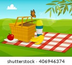 summer picnic with park...   Shutterstock .eps vector #406946374